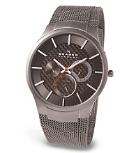 Skagen Denmark Men's Carbon Fiber Dial Titanium Mesh Band Watch