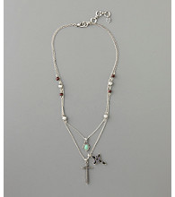 Lucky Brand® Cross Charm Necklace - Silvertone