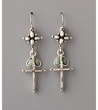 Lucky Brand® Cross Charm Earrings - Vintage Silvertone