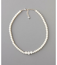 Carolee® Pearl Necklace With Fireballs - Silvertone/White