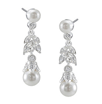 Carolee® Crystal & Pearl Leaf Accent Linear Earrings - Silvertone/White