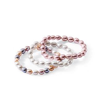 3-Piece Genuine Freshwater Pearl Bracelet Set - White/Pink/Multi