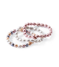 3-Piece Genuine Freshwater Pearl Bracelet Set - White/Pink/Multi