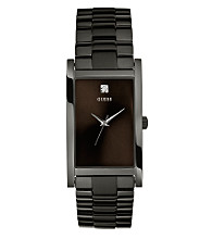 Guess Men's Black Ionic-Plated Diamond Accent Dress Watch