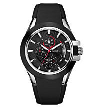 Guess Men's Resin Sports Multifunction Dial Watch - Black