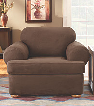 Sure Fit® Stretch Suede Chair Separate Seat T-Cushion Slipcover
