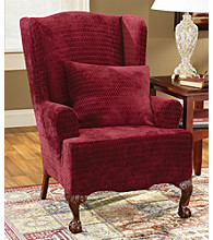 Sure Fit® Stretch Royal Diamond 1-Piece Wing Chair Slipcover