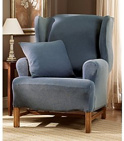 Sure Fit® Stretch Pique One-Piece Wing Chair Slipcover