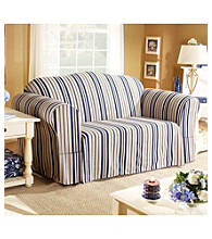 Sure Fit® Indigo Stripe 1-Piece Sofa & Loveseat Slipcovers