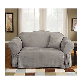 Sure Fit® Soft Suede 1-Piece Sofa & Loveseat Slipcovers