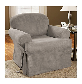 Sure Fit Soft Suede 1 Piece Chair T Cushion Slipcover