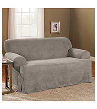 Sure Fit® Soft Suede 1-Piece Sofa & Loveseat T-Cushion Slipcovers