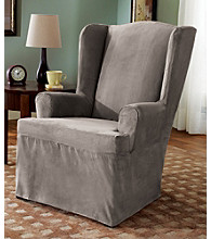 Sure Fit® Soft Suede 1-Piece Wing Chair Slipcover