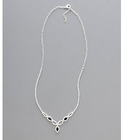 BT-Jeweled Social Occasion Navette Necklace - Silvertone/Clear Crystal/Jet