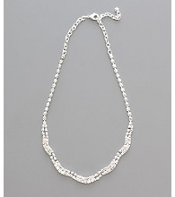 Social Occasion Double Row Scallop Necklace - Silver/Clear Crystal