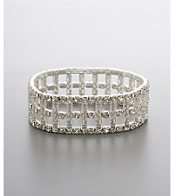 BT-Jeweled Social Occasion Train Track Stretch Bracelet - Silvertone/Clear Crystal