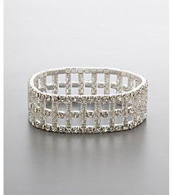BT-Jeweled Social Occasion Train Track Stretch Bracelet - Silvertone/Clear Crystal