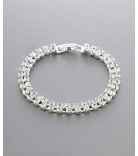 BT-Jeweled Social Occasion Double Row Clasp Bracelet - Silvertone/Clear Crystal