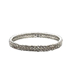 BT-Jeweled Social Occasion Double Row Stretch Bracelet - Silvertone/Clear Crystal