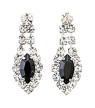 BT-Jeweled Social Occasion Navette Earrings - Silvertone/Clear Crystal/Jet