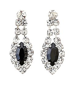 BT-Jeweled Silvertone/Clear Crystal/Jet Social Occasion Navette Earrings