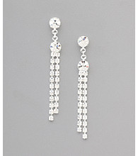 BT-Jeweled Social Occasion Round Rhinestone Stud Tassel Earrings - Silvertone/Clear Crystal
