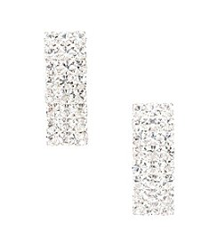 BT-Jeweled Social Occasion Triple Row Rhinestone Post Earrings - Silvertone/Clear