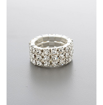 BT-Jeweled Triple Row Stretch Ring - Silvertone/Clear Crystal