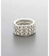 Social Occasion Triple Row Stretch Ring - Silvertone/Clear Crystal