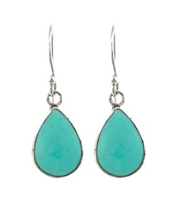 Athra Sterling Silver Genuine Turquoise Inlay Teardrop Earrings