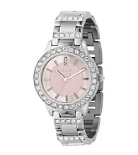 Fossil® Silvertone Stainless Steel with Pink Mother-of-Pearl Dial Watch