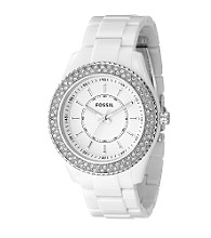 Fossil® Women's Double Ring Glitz Analog Watch - White