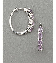 Sterling Silver Rhodium Plated Genuine Brazil Amethyst Hoop Earrings