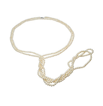 "5-6mm Enhanced Freshwater Pearl 100"" Strand Necklace - White"