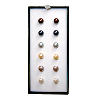 8-9mm Freshwater Pearl 6-Piece Stud Earrings Set