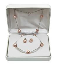 7-8mm Enhanced Freshwater Pearl Necklace & Earrings Set - Pink