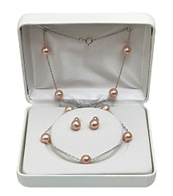 7-8mm Enhanced Freshwater Pearl Necklace & Earrings Set - Pink