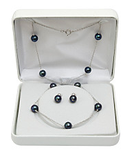 7-8mm Enhanced Freshwater Pearl Necklace & Earrings Set - Black