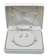 7-8mm Freshwater Pearl Necklace & Earrings Set - White