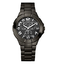 Guess Men's Round Black Dial Multifunction Gunmetal Bracelet Watch