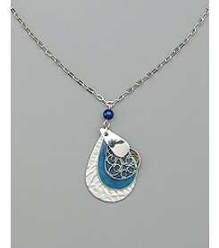 Silver Forest® Four Layer Teardrop Pendant - Silvertone/Blue