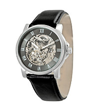 Kenneth Cole New York® Men's Gunmetal Skeleton Dial Leather Strap Watch