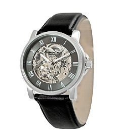 Kenneth Cole New York® Men's Gunmetal Skeleton Dial Watch with Black Leather Strap