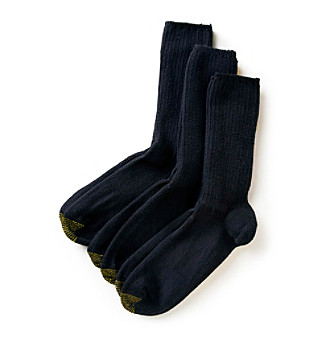 GOLD TOE® Men's 3 Pack Fresh Tex Fluffy Cotton Casual Crew Socks