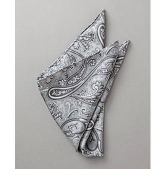 Kenneth Roberts Platinum® Men's Paisley Pocket Square - Silver