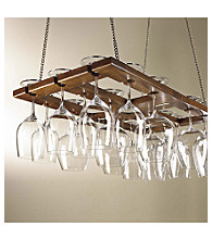 Wine Enthusiast Hanging Oak Wine Glass Rack