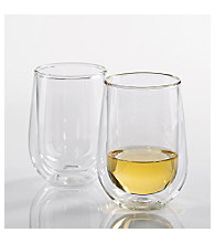 Wine Enthusiast Set of 2 Steady-Temp Double Wall White Wine Glasses