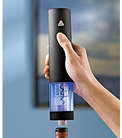 Wine Enthusiast Electric Push Button Blue Corkscrew