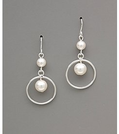 Studio Works® Pearl Orbital Drop Earrings - White/Silvertone
