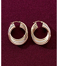 14K Gold & Sterling Silver Hoop Earrings